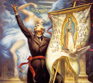 Father Hidalgo with Our Lady of Guadalupe banner