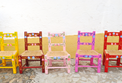 Cottage painted chairs Mexico