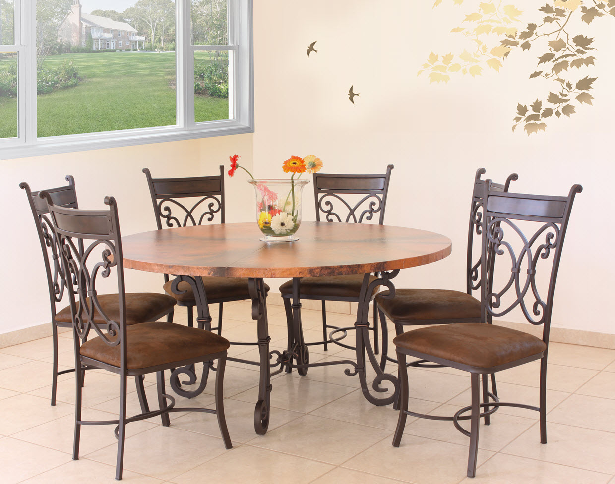 Wrought iron Roman Chair with dining table